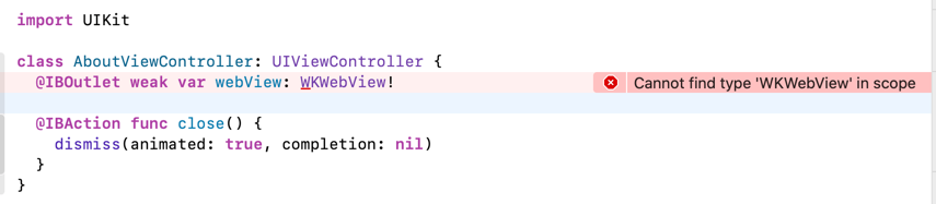 Xcode complains about WKWebView