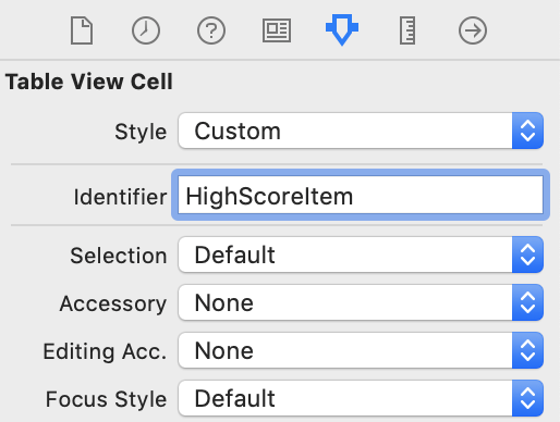Giving the table view cell a reuse identifier