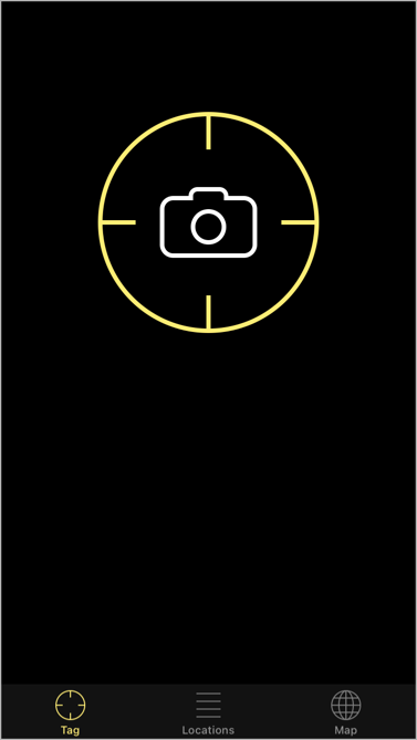 The launch screen for the app