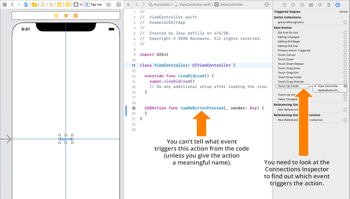 Action code and the Connections Inspector