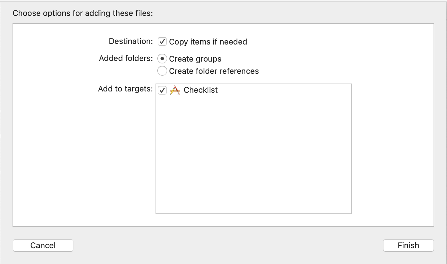 Choose options for adding these files