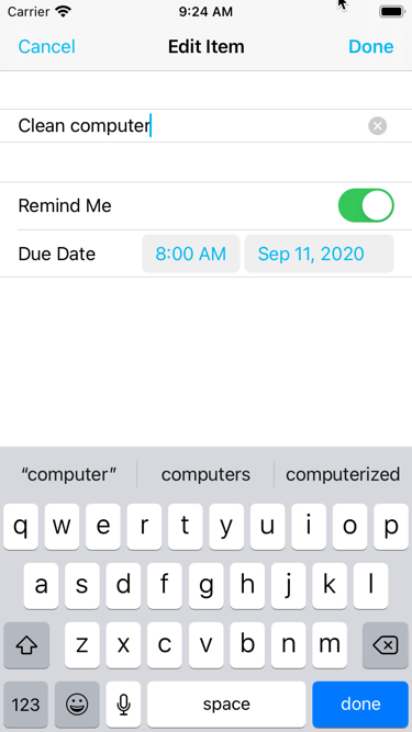 The Add/Edit Item screen now has Remind Me and Due Date fields
