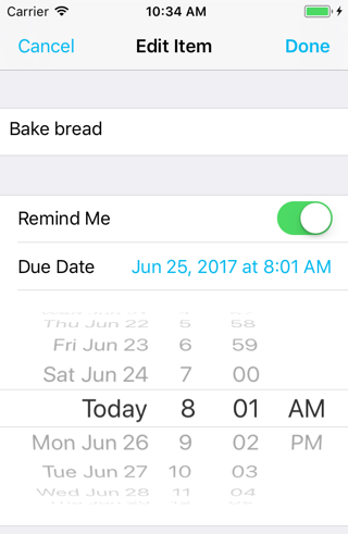The date label appears in the tint color while the date picker is visible