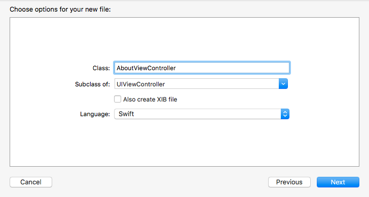 The options for the new file