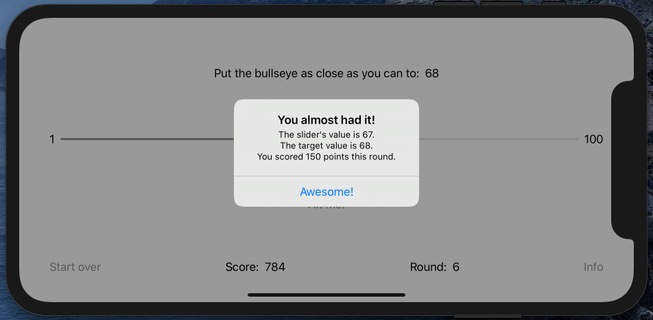 The pop-up showing 150 points for being off by one unit