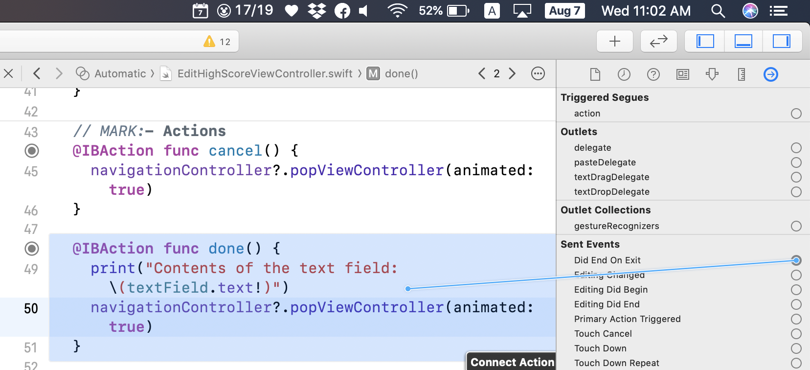 Connecting the text field to the done() action method