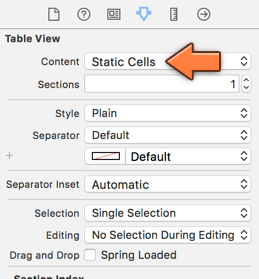 Changing the table view to static cells