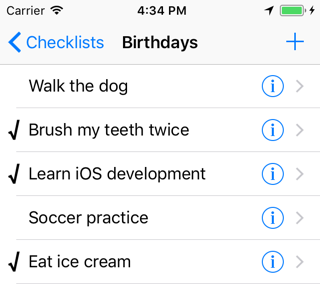 The name of the chosen checklist now appears in the navigation bar