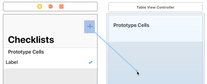 Control-drag from the Add button to the new table view controller