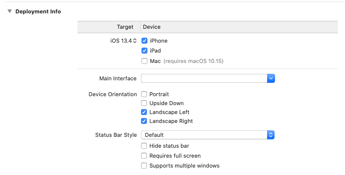 The Device Orientation settings
