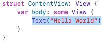 'Hello World', highlighted in the Editor