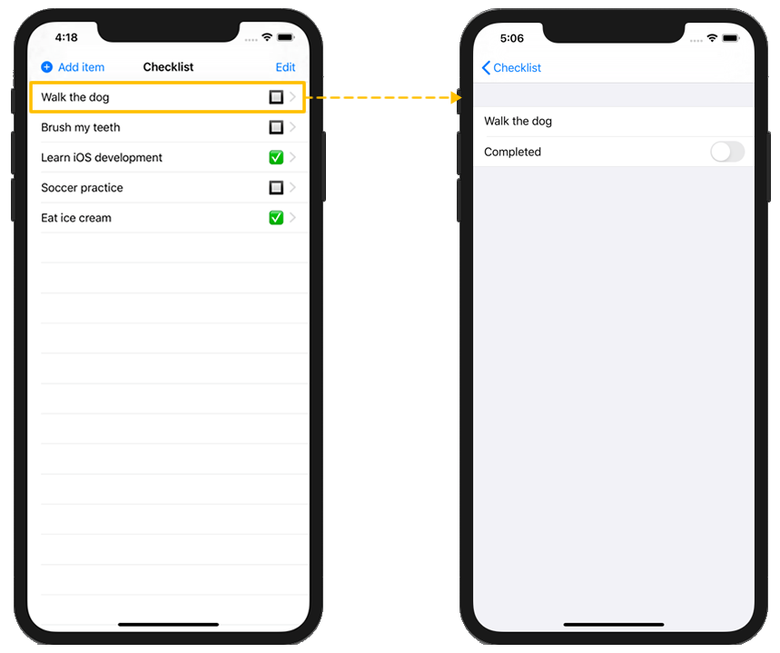 Tapping on a checklist item will take the user to an edit screen