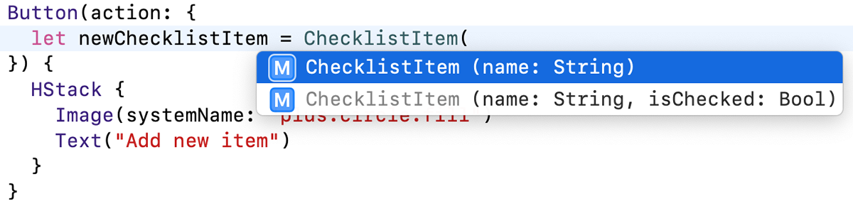 Xcode suggests initializers for ChecklistItem
