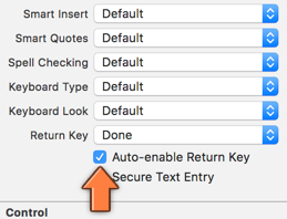 The Auto-enable Return Key option disables the return key when there is no text