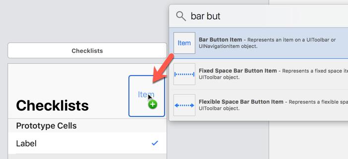 Dragging a Bar Button Item into the navigation bar