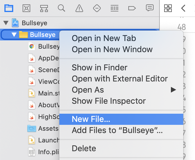 Adding a new file to the project