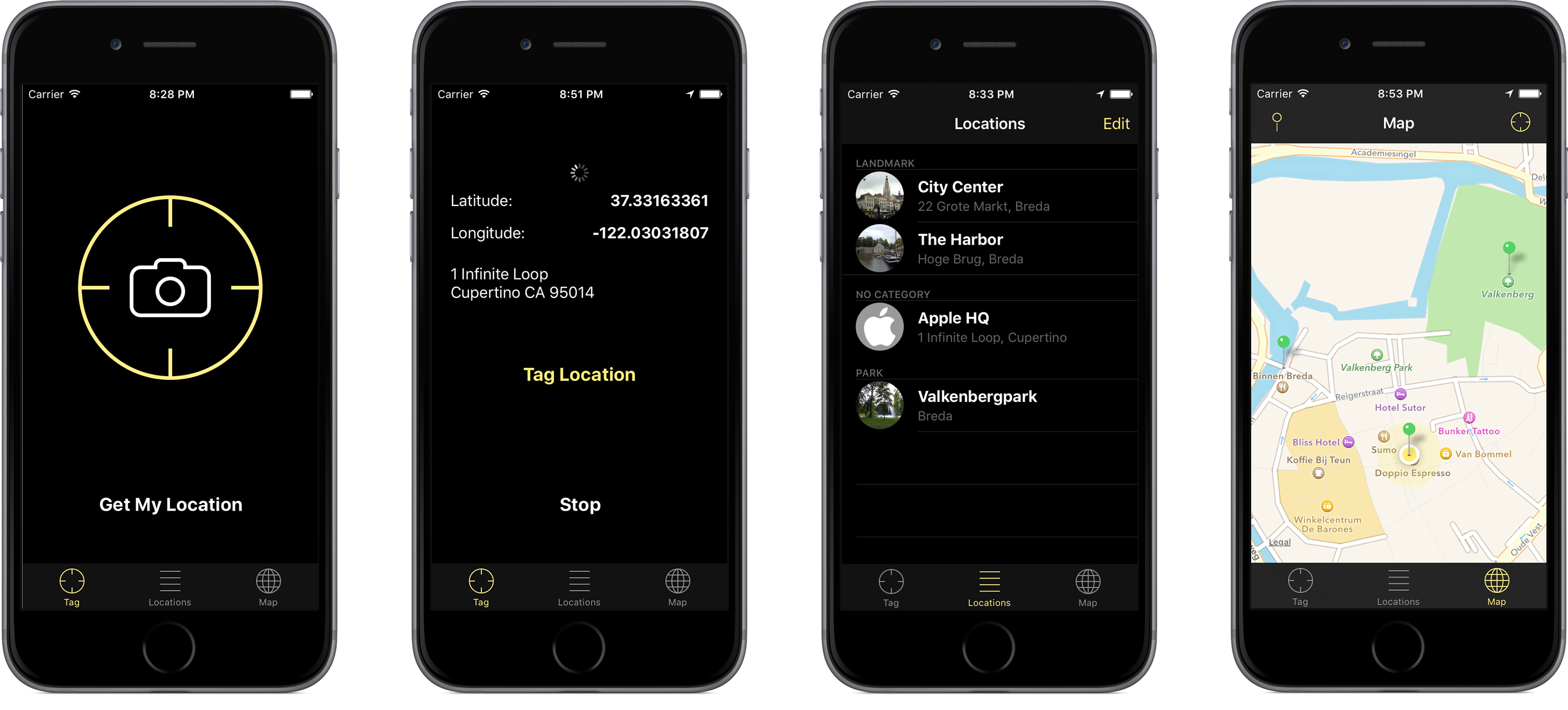 The MyLocations app