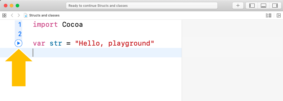 Running a line of code in the playground