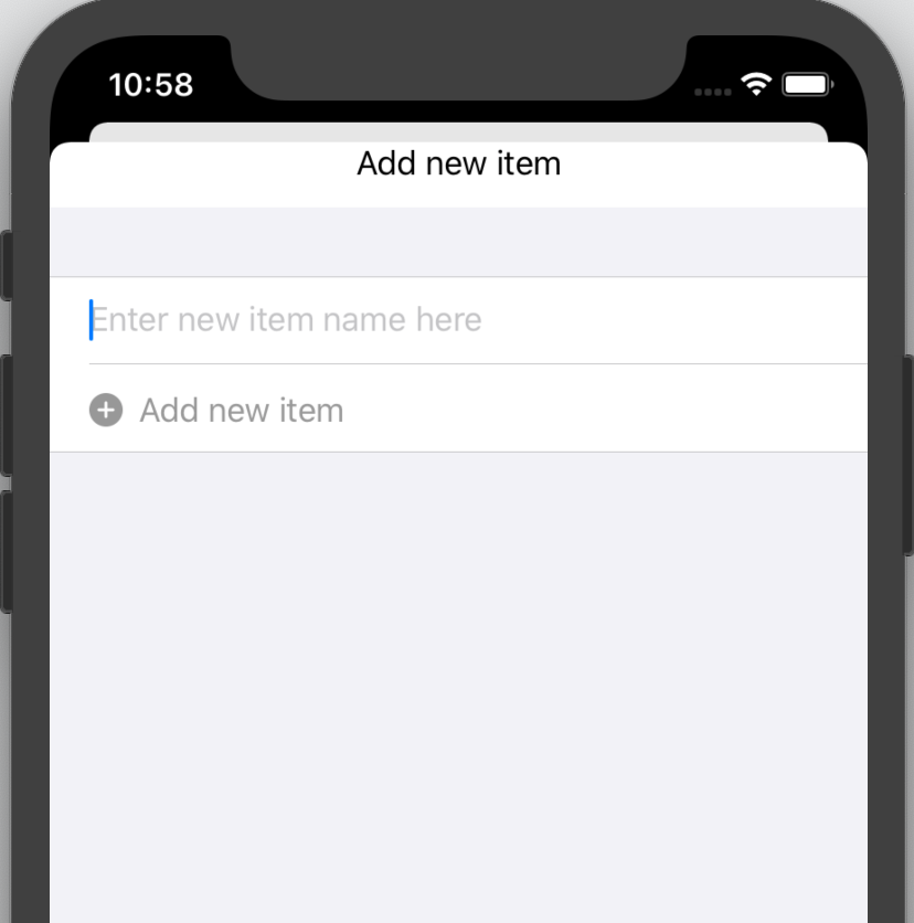 The 'Add new item' sheet, with an empty text field and a disabled button