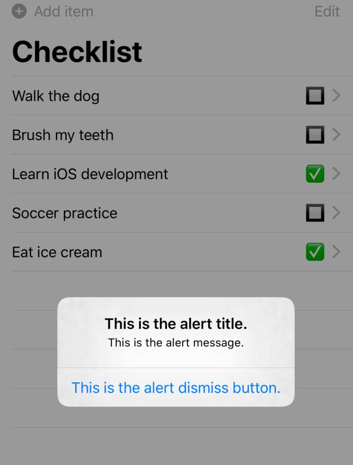 The app, displaying an 'Alert' pop-up
