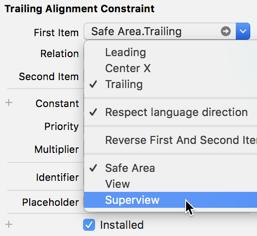 Edit Auto Layout constraint