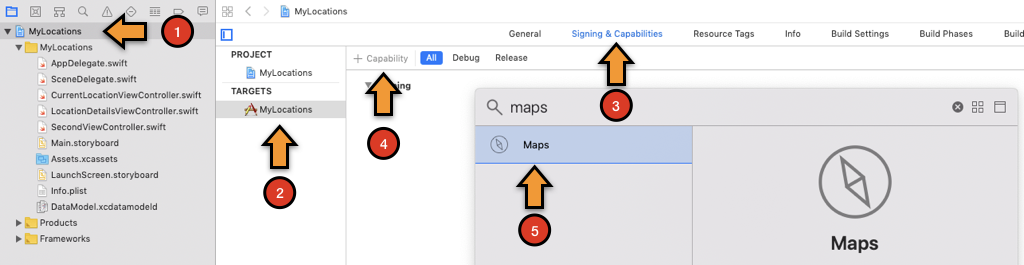 Enabling the app to use maps