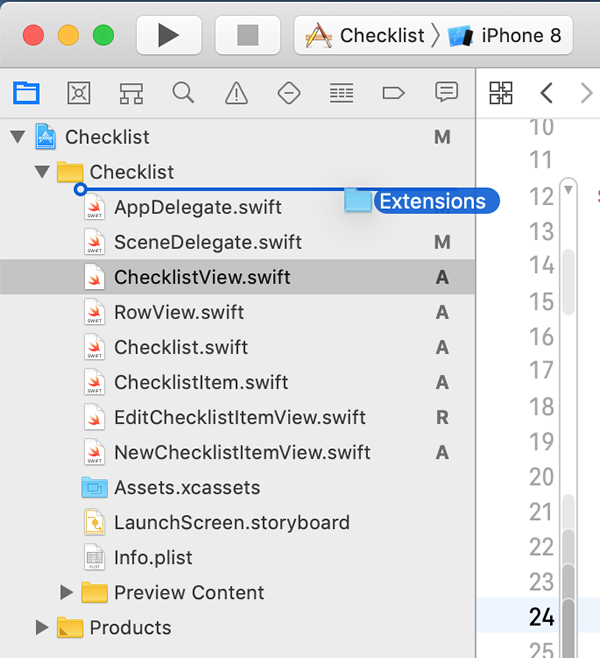 Dragging the 'Extensions' folder into the project