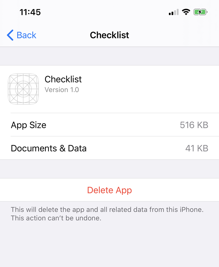 The Documents folder on the device