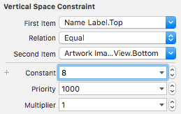 Attributes for the vertical space constraint