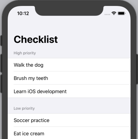 The app with a grouped style list