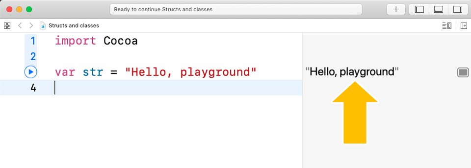 The result from running a line of code in the playground