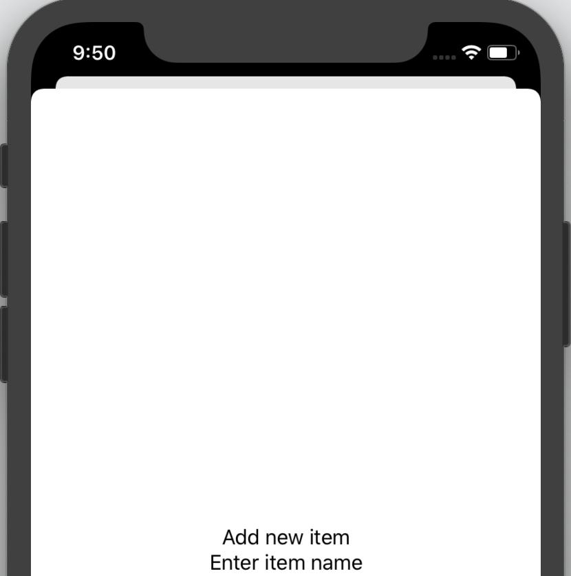 The 'Add new item' sheet