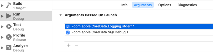 Adding the SQLDebug launch argument