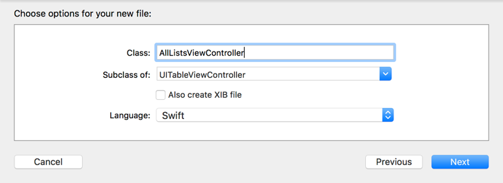 Choosing the options for the new view controller