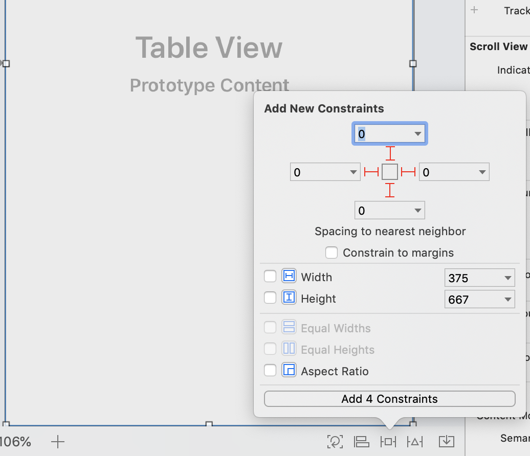 Creating constraints to pin the Table View