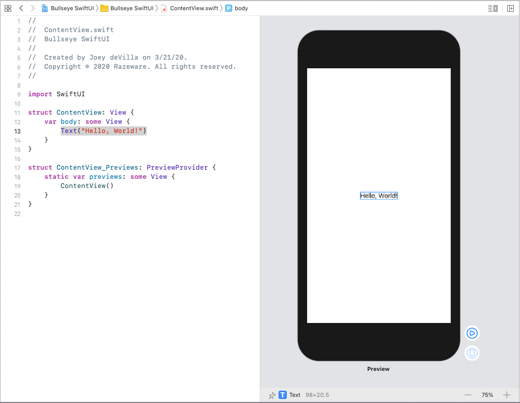 'Hello, World!' highlighted in both the code editor and the Canvas