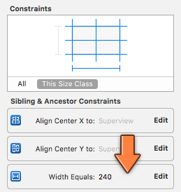 The Size inspector lists the constraints for the selected view