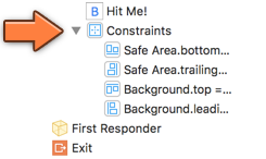The new Auto Layout constraints appear in the Document Outline