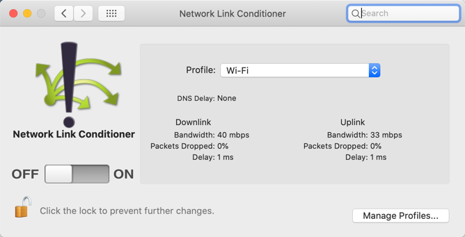The Network Link Conditioner preference pane