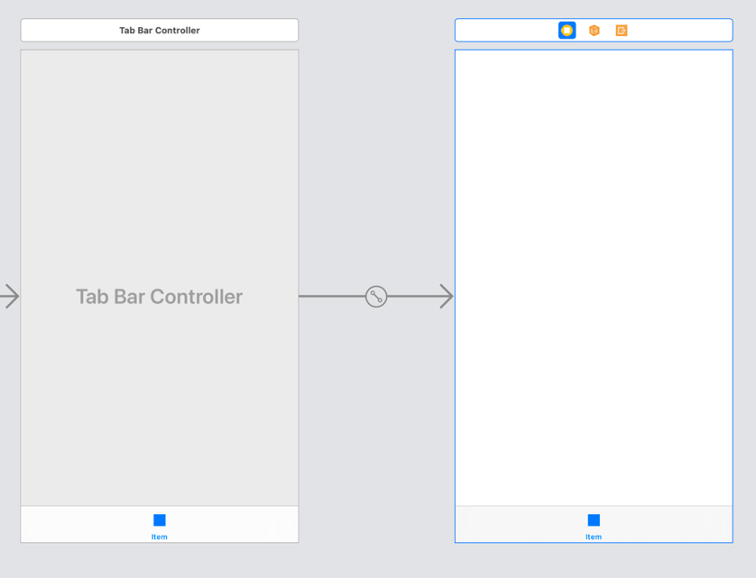 The storyboard with Tab Bar Controller