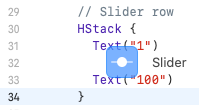 Dragging the Slider from the library and onto the code