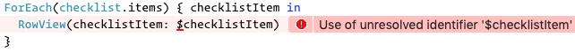 The resulting error message in ChecklistView
