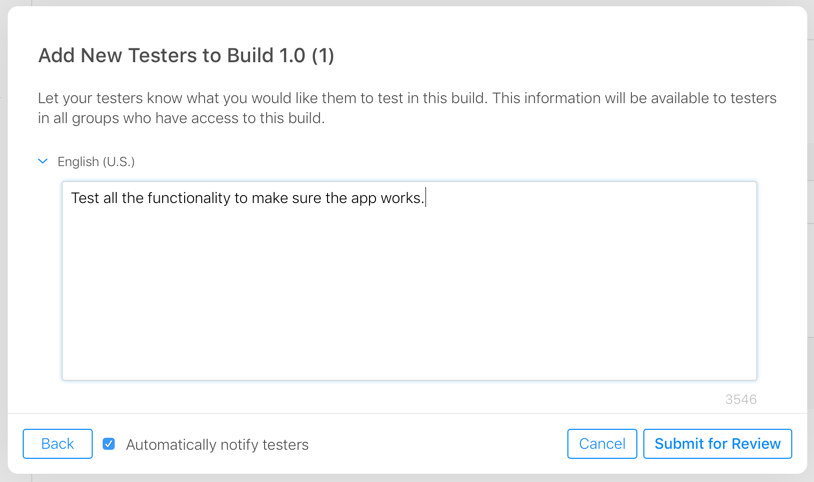 The submit for beta review dialog