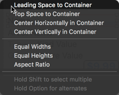 The pop-up shows different constraint types