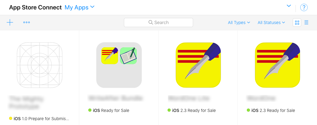 The My Apps page on App Store Connect