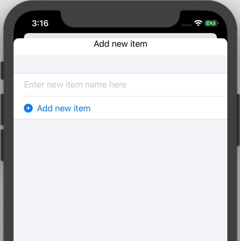 The 'Add new item' screen with a text field
