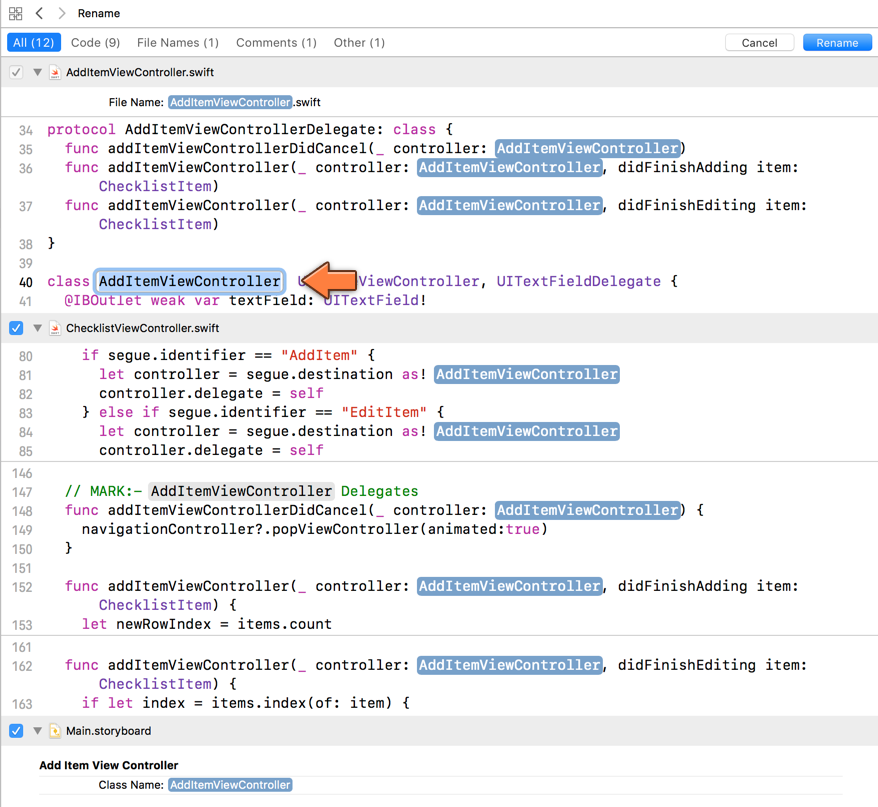 Xcode rename view