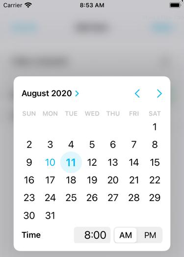 The date picker calendar
