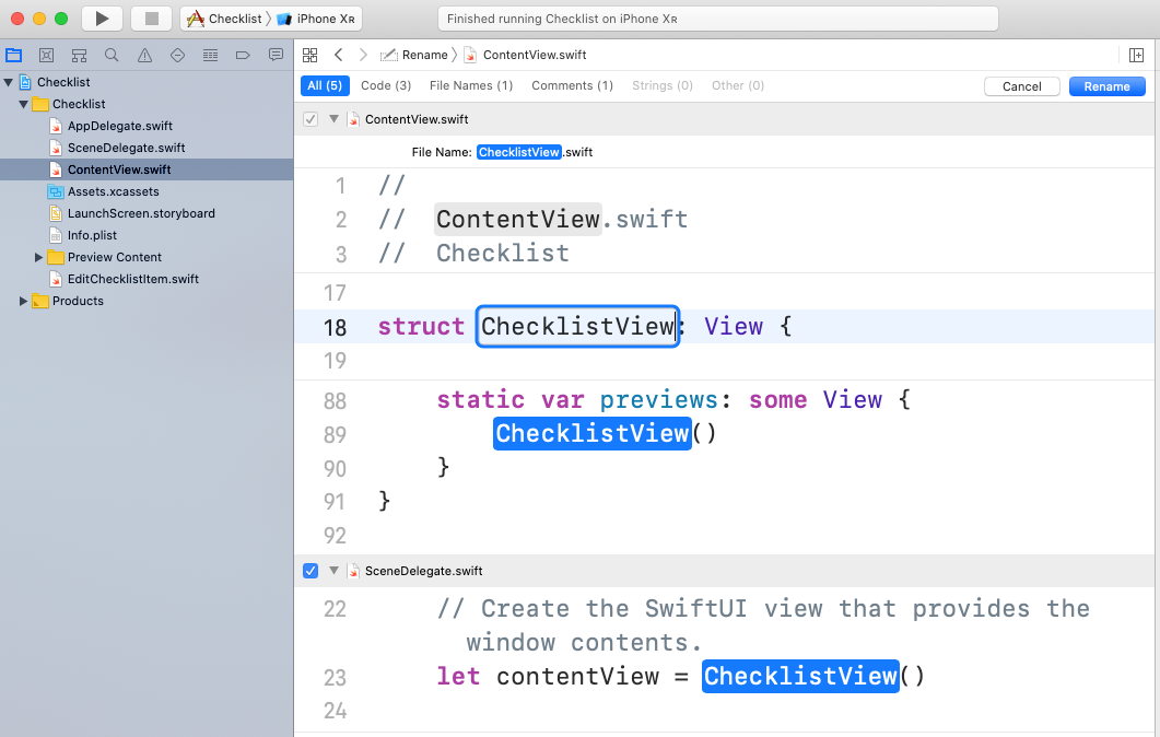 Changing ContentView's name to ChecklistView