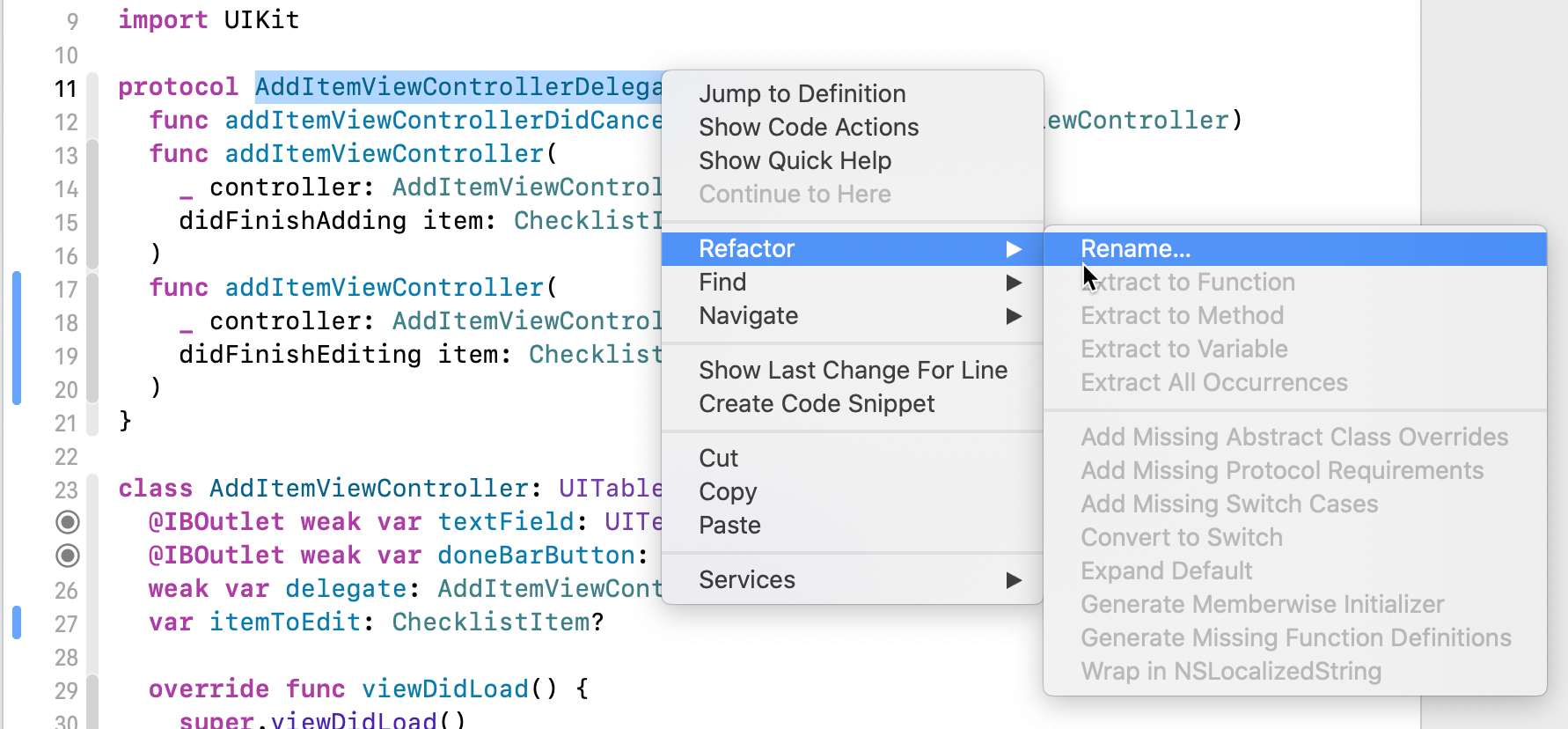 The Xcode context menu